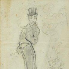 Arte: VICENTE OLIVER DIBUJO DE CABALLERO FUMANDO FIRMADO Y FECHADO 1919. Lote 195106370