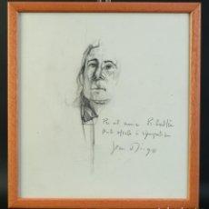 Arte: DIBUJO A LÁPIZ RETRATO DE HOMBRE DEDICADO AL PINTOR RIBALTA Y FIRMADO LEA DIEGO. Lote 195106777