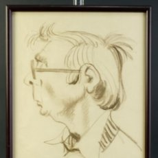Arte: DOMINGO BENITO (1927) DIBUJO A LAS CERAS PERFIL DE HOMBRE FIRMADO. Lote 195106793