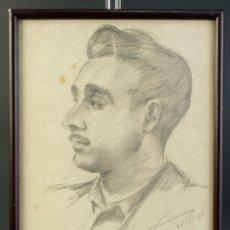 Arte: DIBUJO A LÁPIZ PUIG RETRATO DE HOMBRE FIRMADO Y FECHADO PUIG CUMUS BARCELONA 1957. Lote 195106800