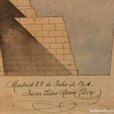 Arte: ARQUITECTURA, DIBUJO ORIGINAL DE JUAN PEDRO MARIN PEREZ MADRID 1904. Lote 195122693