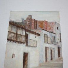 Arte: DIBUJO AL PASTEL - CALLE CON CASAS - FIRMA JOVER VIVES. Lote 195123232