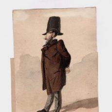 Arte: JOSEP PARERA I ROMERO (1830-1902) 2 DIBUJOS CARÍCATURA DE PERSONAJE SR. CASTELLÓ, 19X21 CM.. Lote 195169988