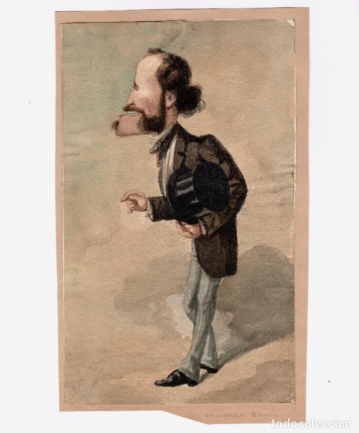JOSEP PARERA I ROMERO (BARCELONA 1830 - 1902) MARCHESE BRIVIO, CARICATURA 18X29 CM. (Arte - Dibujos - Modernos siglo XIX)
