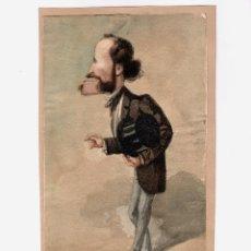 Arte: JOSEP PARERA I ROMERO (BARCELONA 1830 - 1902) MARCHESE BRIVIO, CARICATURA 18X29 CM.. Lote 195171245