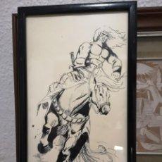 Arte: DIBUJO ORIGINAL CONAN EL BARBARO CON SELLO DE ARTISTA DIBUJO HECHO TINTA CHINA ORIGINAL DE ARTISTA. Lote 195179380