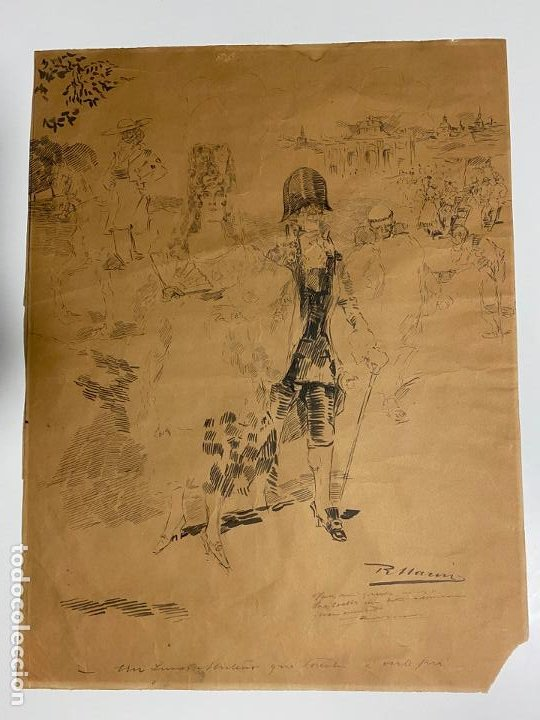 Arte: RICARDO MARIN LLOVET , DIBUJO ORIGINAL , FIRMADO Y DEDICADO - Foto 9 - 195181228