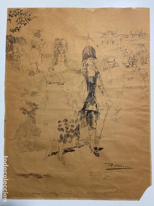 RICARDO MARIN LLOVET , DIBUJO ORIGINAL , FIRMADO Y DEDICADO (Arte - Dibujos - Modernos siglo XIX)
