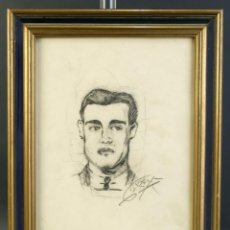 Arte: DIBUJO AL CARBONCILLO RETRATO DE HOMBRE FIRMADO GARCIA. Lote 195228975