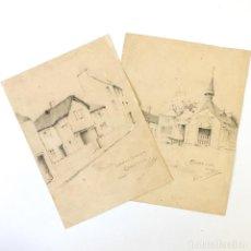 Arte: DIBUJOS ORIGINALES - LOWER STREET, SQUARE - CHAGFORD, DEVON, INGLATERRA - 1930 - CECILE THOMSON . Lote 195235435