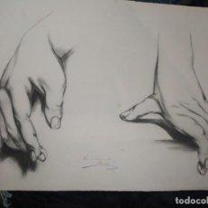 Arte: PRECIOSO DIBUJO ESTUDIO MANOS FIRMADO C. APARICI LÁMINA ÁLVARO CARBO FIRMADO Y OTRA FIRMA ILEGIBLE. Lote 195246488