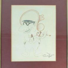 Arte: XAVIER CUGAT TOCANDO EL VIOLIN. DIBUJO AL PASTEL. XAVIER CUGAT. SIGLO XX.. Lote 195274422