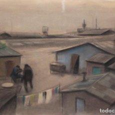 Arte: ALFREDO OPISSO CARDONA (1907- 1980) DIBUJO A PASTEL. BARRACAS. Lote 195281981