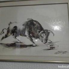 Arte: CUADRO DE UN TORO. AUTOR: GONZÁLEZ CONTE. Lote 195289487