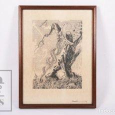 Arte: DIBUJO A TINTA SOBRE PAPEL - RAMÓN TORRUELLA - ESQUELETO DE SERPIENTE / COBRA - AÑO 1979. Lote 195296425