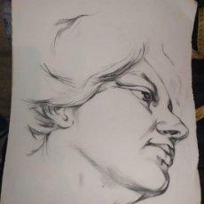 Arte: PRECIOSO ANTIGUO DIBUJO CARA FIRMADO C. APARICI LÁMINA ÁREVALO Y CARBO MÁS OTRA FIRMA. Lote 195342878