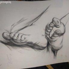 Arte: PRECIOSO ANTIGUO DIBUJO ESTUDIO PIES FIRMADO C. APARICI LÁMINA ÁREVALO Y CARBO MÁS OTRA FIRMA. Lote 195343347