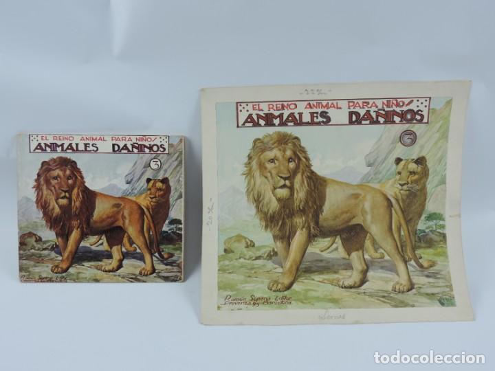 ACUARELA ORIGINAL DE LA PORTADA DEL CUENTO ANIMALES DAÑINOS 3, ILUSTRADOR LUIS PALAO, JUNTO CON EL C (Arte - Dibujos - Contemporáneos siglo XX)