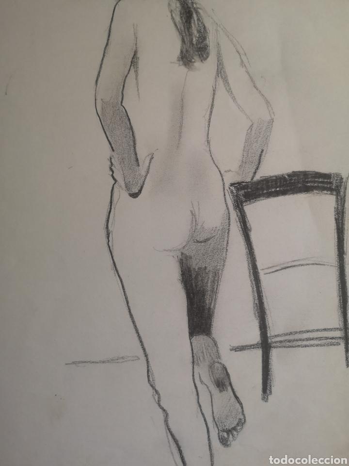 Arte: Desnudo femenino, dibujo a carboncillo. Sin firmar. 35x27cm - Foto 2 - 195367366