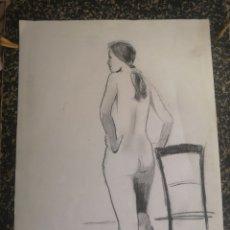 Arte: DESNUDO FEMENINO, DIBUJO A CARBONCILLO. SIN FIRMAR. 35X27CM. Lote 195367366