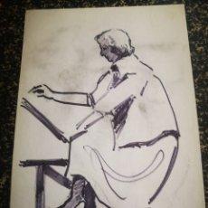 Arte: MUJER DIBUJANDO, DIBUJO SOBRE PAPEL, BOCETO. 31X21CM. Lote 195368681