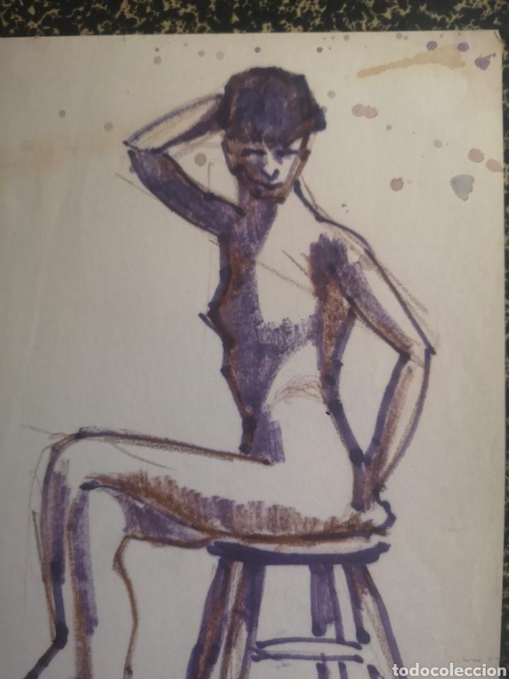 Arte: Desnudo femenino, técnica mixta. 31x21cm - Foto 2 - 195369005