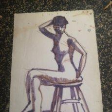 Arte: DESNUDO FEMENINO, TÉCNICA MIXTA. 31X21CM. Lote 195369005