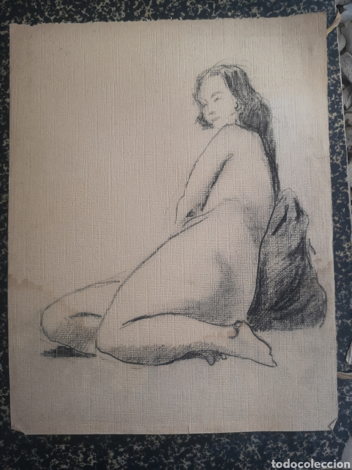 DESNUDO FEMENINO, AÑOS 20. DIBUJO CARBONCILLO 34X27CM (Arte - Dibujos - Contemporáneos siglo XX)