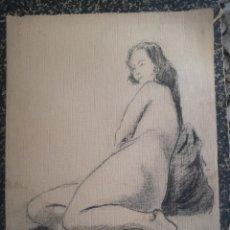 Arte: DESNUDO FEMENINO, AÑOS 20. DIBUJO CARBONCILLO 34X27CM. Lote 195369347