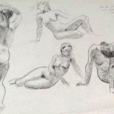 Arte: DESNUDOS FEMENINOS. CARBONCILLO SOBRE PAPEL. FIRMADO J. BUENO. ESPAÑA. SIGLO XX. Lote 195397953