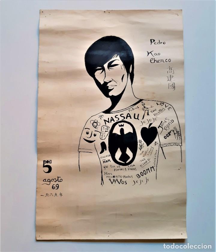 Arte: ORIGINAL DIBUJO LAMINA PEDRO KAO CHENCO 1969 - 32 X 50.CM - Foto 2 - 195404962