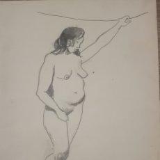 Arte: DESNUDO FEMENINO FIRMA ILEGIBLE, PRIMERA MITAD S.XX 34X26. Lote 195439275