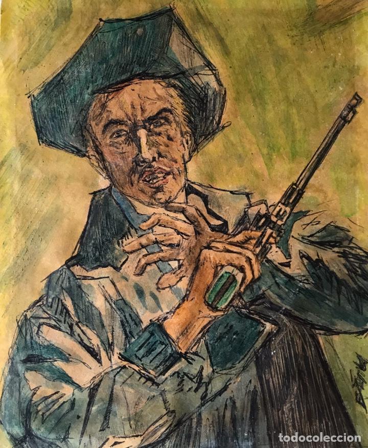 DIBUJO FIRMADO DEL OESTE WESTERN. (Arte - Dibujos - Contemporáneos siglo XX)