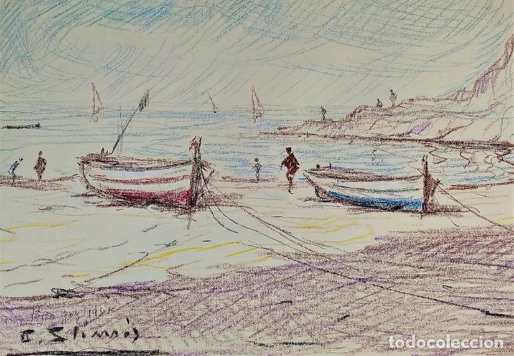 BARCAS EN LA PLAYA. LÁPIZ DE COLOR SOBRE PAPEL. FIRMADO S.C. LIMÓS. ESPAÑA. 1981 (Arte - Dibujos - Contemporáneos siglo XX)