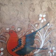 Arte: PINTURA SOBRE CORTEZA DE ÁRBOL ORIGINAL. Lote 195467441