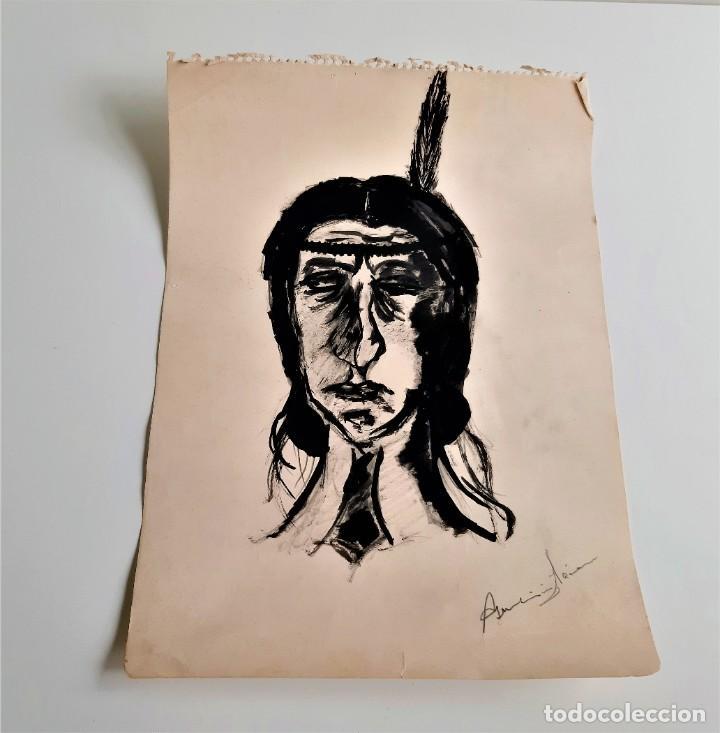 DIBUJO A LAPIZ Y ROTULADOR INDIO FIRMADO A MANO - AUTOR DEZCONOCIDO - 25 X 34.CM (Arte - Dibujos - Contemporáneos siglo XX)