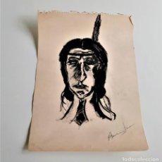 Arte: DIBUJO A LAPIZ Y ROTULADOR INDIO FIRMADO A MANO - AUTOR DEZCONOCIDO - 25 X 34.CM. Lote 195489793