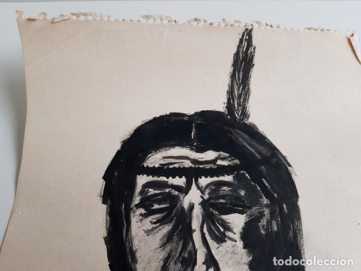 Arte: DIBUJO A LAPIZ Y ROTULADOR INDIO FIRMADO A MANO - AUTOR DEZCONOCIDO - 25 X 34.CM - Foto 3 - 195489793