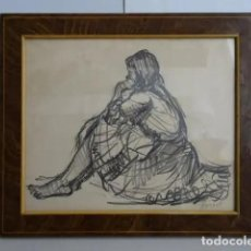 Arte: AÑO 1964 DIBUJO ROVIRA NIÑA SENTADA EN EL SUELO. Lote 195534548