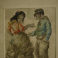 Arte: ANTIGUO DIBUJO GITANA Y SOLDADO. Lote 195534920