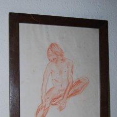 Arte: DIBUJO ORIGINAL - SANGUINA - DESNUDO MASCULINO - RETRATO - TALAVÁN - 1971. Lote 195541322