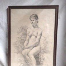 Arte: DESNUDO FEMENINO, FIRMADO ROURA AÑO 1893, DIBUJO AL CARBÓN ESCUELA DE OLOT. MED. 37,50 X 58 CM. Lote 195604351