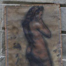 Arte: JOSEP TRUCO PRAT, DESNUDO FEMENINO, ESTUDIO ACADÉMICO AL CARBONCILLO SOBRE PAPEL, FIRMADO. 113X61CM. Lote 195844750