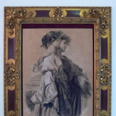 Arte: PARES A. RETRATO CARBON PASTEL ESCUELA FRANCESA XIX CHICA MUJER JOVEN PRIMAVERA PORTRAIT FUSAIN. Lote 195992107