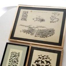 Arte: EXCELENTE LOTE SILUETAS DIBUJOS GALGOS CABALLOS ARTISTA SUECIA TORSTEN FÖLLINGER ENMARCADAS AÑOS 60. Lote 196070588