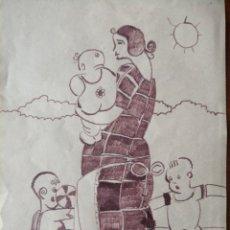 Arte: DIBUJO FIRMADO ILEGIBLE EN 1923.. Lote 196201416