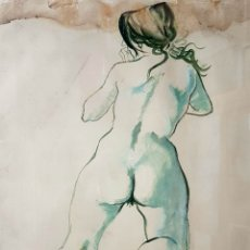 Arte: CELEDONIO PERELLON, PRECIOSA DIBUJO DESNUDO FEMENINO, FIRMADO.. Lote 196304546