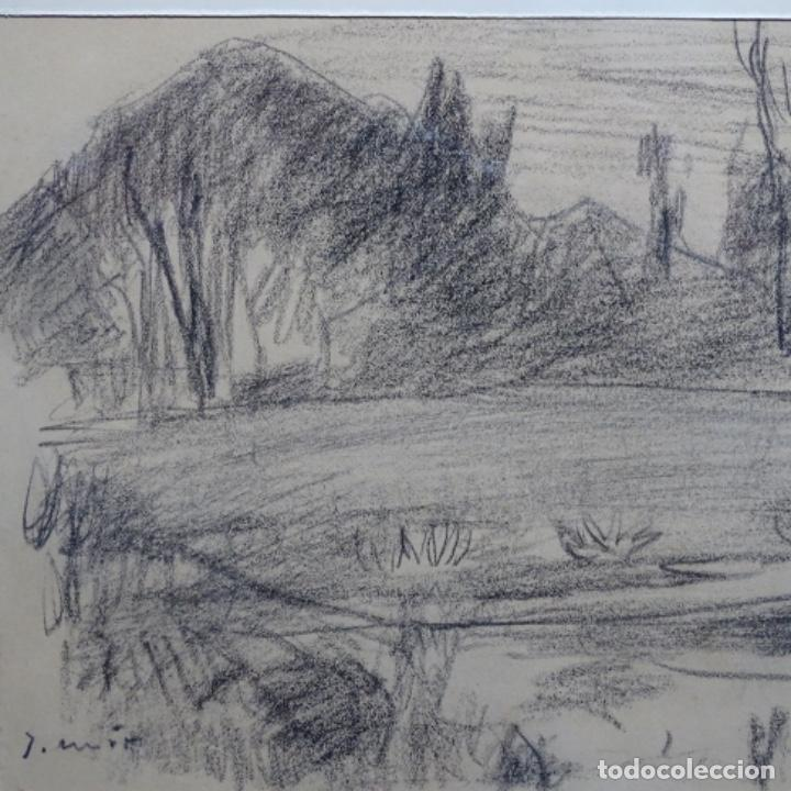 Arte: Bonito dibujo a carboncillo de Joaquín mir(1873-1940). - Foto 2 - 196318595