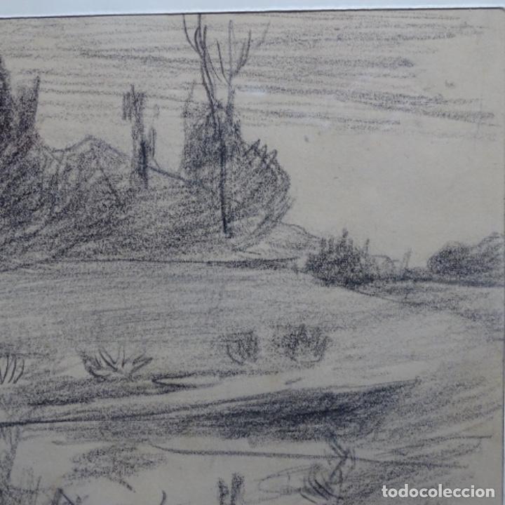 Arte: Bonito dibujo a carboncillo de Joaquín mir(1873-1940). - Foto 3 - 196318595