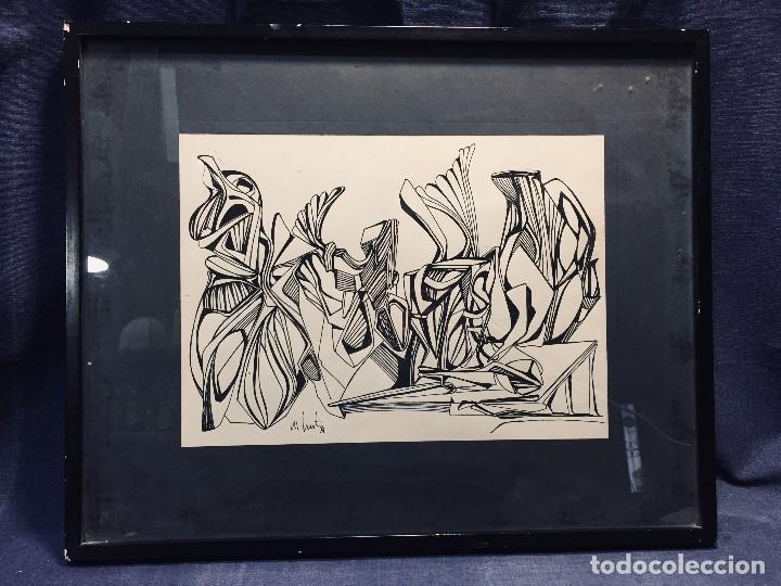 DIBUJO A PLUMILLA FIRMADO 74 COMPOSICION ABSTRACTA ESCUELA ESPAÑOLA S XX 38X47,5CMS (Arte - Dibujos - Contemporáneos siglo XX)